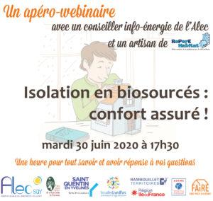 Apéro-webinaire «Isolation en biosourcés : confort assuré !» – mardi 30 juin à 17h30