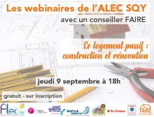 Read more about the article Webinaire de rentrée : Le logement passif : construction et rénovation –  Jeudi 9 septembre à 18h